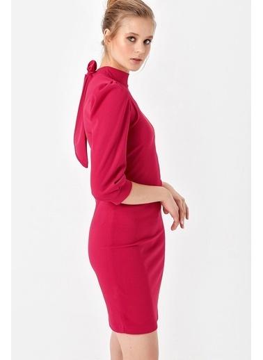 Jument Scuba Krep Yarım Balıkçı Sırt Dekolteli Elbise Kırmızı